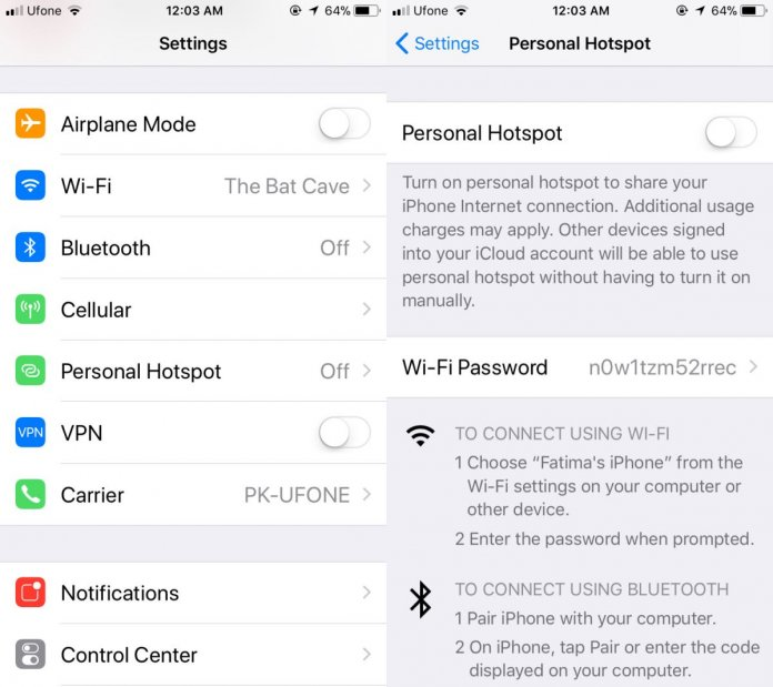Setting up a password for your iPhone hotspot