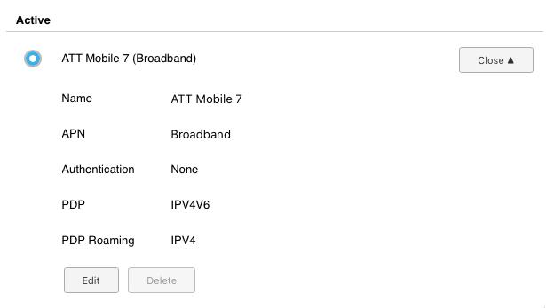 AT&T nighthawk apn settings